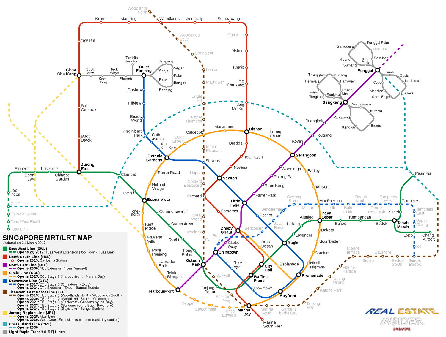 Map Of Singapore MRT and LRT Network